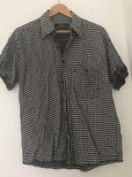 Men's Shirt Size M Hicret Short Sleeve Black Casual <JJ2600z