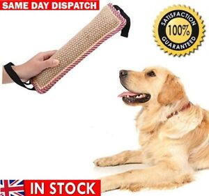Dog Tug Toy Dog Bite Pillow Jute Bite Toy Dog Pull Toy Interactive with 2 Handle