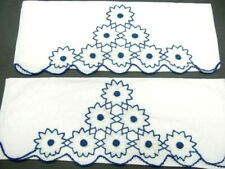 New listing Beautiful Vintage Matching Pillowcase Set of Heavily Crocheted Blue, White Snow