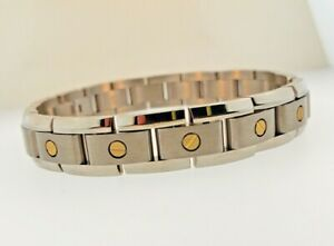 """REVV MENS 8.5"""" TITANIUM and 14k Yellow Gold BRACELET NEW WITHOUT TAG MSRP $450"""