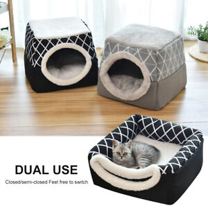 Cat Nesting Bed Soft Warm Pet Puppy House Kennel Cave Mat Igloo Tent Gray Black