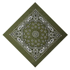 Olive Green Black White Paisley XL Extra Large Cotton Bandana Scarf
