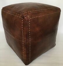 Moroccan Contemporary design, 100% Leather, Hand Stitched Square Large Pouffe