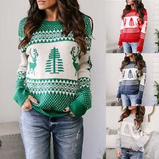 Womens Christmas Xmas Sweater Jumper Pullover Winter Casual Knitwear Sweatshirt