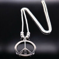 Peace Sign Symbol Pendant Necklace Stainless Steel Chain Silver Color Jewelry
