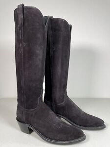 Women's Lucchese Boots Edie Black Suede Tall Knee High Handmade 8.5 N4847.J4
