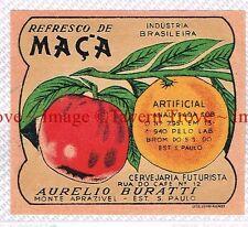 1950 BRASIL Sao Paulo CERVEJARIA FUTURISTA A Burattii REFRESCO DE MACA Label