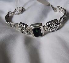 Pulsera de plata esterlina 925 con cuarzo verde hecho a mano