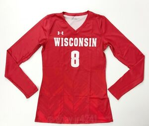 Under Armour Wisconsin Badgers LS V-Neck Volleyball Jersey Women's Small UJVJ2LW