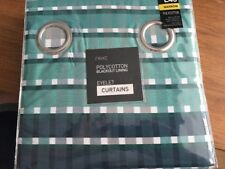 Next Lined Eyelet Curtains Teal Check RRP £45 Teal/Grey BNIP