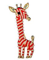 Delightful GIRAFFE Pearl Stripe RED Enamel TALL Retro Vintage Style Brooch