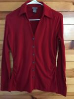 Ann Taylor Red Top Women's Long Sleeve Ruched Button Front Shirt Size S