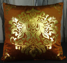 Brown Gold Indian Ornate Throw Accent Pillow Case Cover Cotton Plush Velvet NEW