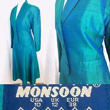 Rare Monsoon Twilight UK8 10 (Vintage12) Ladies Turquoise Jacket Skirt Suit Ball