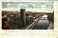 1902 Stempel Heilbronn auf color Litho-AK Bollwerkturm nach Pfedelbach gelaufen