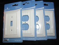 NEW Lot of 4 Toggle Single Duplex Outlet Switch Wall Plate Cover White Beadboard