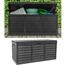 Black 320L Plastic Storage Box Garden Outdoor Shed Utility Cushion Chest Tools