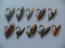 10 x Sizes 1 - 4 Fully Dressed Vintage Salmon Flies Date 1915-35