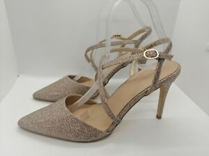 New Look Rose Gold Size 7 Heels party holiday buckle