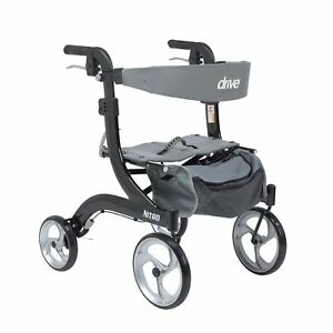 Drive Medical RTL10266BK-H Nitro Euro Style Walker Rollator, Hemi Height, Black