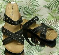 EARTH ORIGINS BLACK SANDALS SLIP ONS SLIDES MULES DRESS SHOES US WOMENS SZ 8.5 M