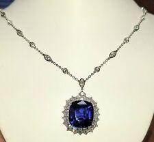 Gorgeous Platinum Tiffany & Co natural blue sapphire necklace 21 Carat
