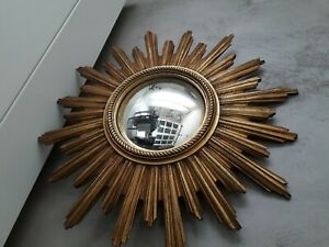 Miroir Soleil doré bombé, oeil de sorciere, design ( no chaty Vallauris)