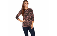 Denim & Co. Floral Printed Heavenly Jersey 3/4 Sleeve Knit Top Chocolate M QVC J