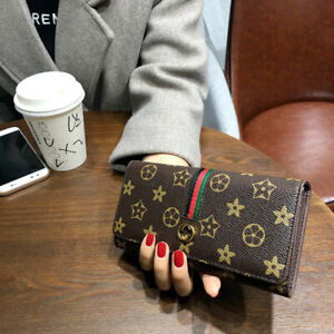 PU Leather Light Luxury Style Long Clutch Wallet Purse For Women Large Capacity