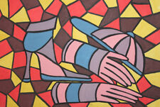 Vintage Avant Garde cubist gouache painting still life signed