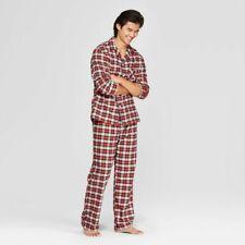 Goodfellow & Co Men's Plaid Flannel Pajama Set Jewel Orange Size: Large