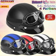 Motorrad Leder Retro Helm Motorradhelm Oldtimerhelm Halbschale Schutzbrillen AF1