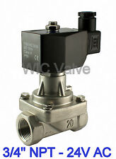 "Stainless Electric Hot Water Steam Solenoid Valve NC 3/4"" Inch  24V AC PTFE Seal"