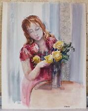 aquarelle Guy Fantou femme au bouquet