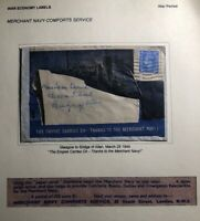 1944 Glasgow Scotland England Patriotic Cover Thanks To The Merchant Navy