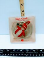 "Vtg Russ ""Santa Celebrate and Decorate""  Clear Glass Holiday Ornament"