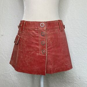 A/X ARMANI EXCHANGE Vintage Red Distressed Leather Cargo mini skirt Size 4 Y2K
