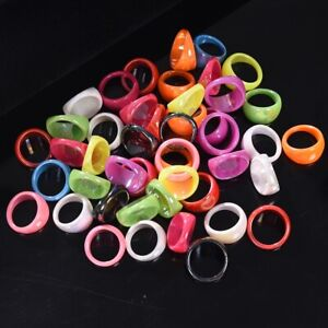 50/100pcs Wholesale Bulk Candy Color Resin Lucite Chunky Men Womens Rings Lots
