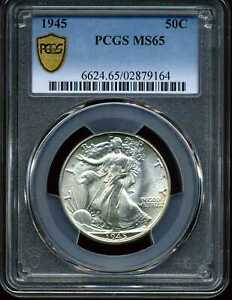 1945 50C Walking Liberty Half Dollar MS65 PCGS 02879164