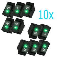 HOTSYSTEM 10x 12V 35A Car Fog Light Rocker Switch 4Pins Green LED Dash Dashboard