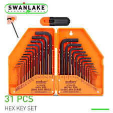 Allen Wrench Hex Key Set 31pc Sae Metric Long Short Arm With Case Free Ship New