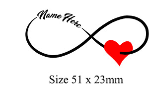 Personalised Infinity with heart Tattoo x 2