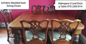 Victorian dining table chairs, mahogany and fabric (6+2)