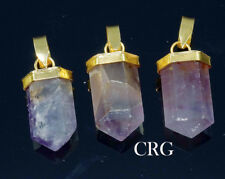 Gold Plated Petite Amethyst Pencil Point Pendant (PE10DG)
