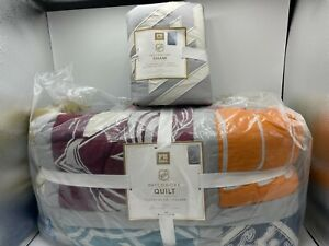 New Pottery Barn Teen NHL Patchwork Twin Quilt and 1 Standard Sham