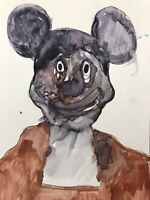 Hasworld original watercolour painting Signed, Mickey Mouse ,Dismaland ,Picasso