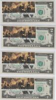 """4 CONSEC LOT ~ 1976 STAMPED & CANCELLED ~ """"4th JULY ISSUE"""" $2 BILL ~ LOU., KY."""