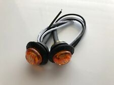 """Pair 3/4"""" LED Marker Clearance Light Cab Side Lights 3 Diode Amber Light, Wire"""