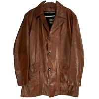 Vintage Sears The Leather Shop Brown Leather Overcoat Mens Jacket 42 Tall *READ
