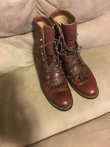 VTG Justin Roper Boots Womens Brown Leather Lace Up SZ: 6B